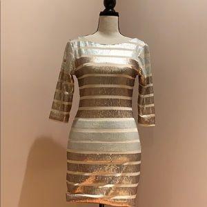 Cream Half Arm Mini Dress With Sequins Small